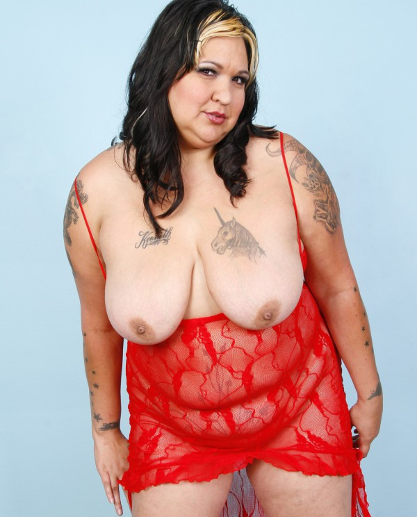 Mature BBW in red lingerie